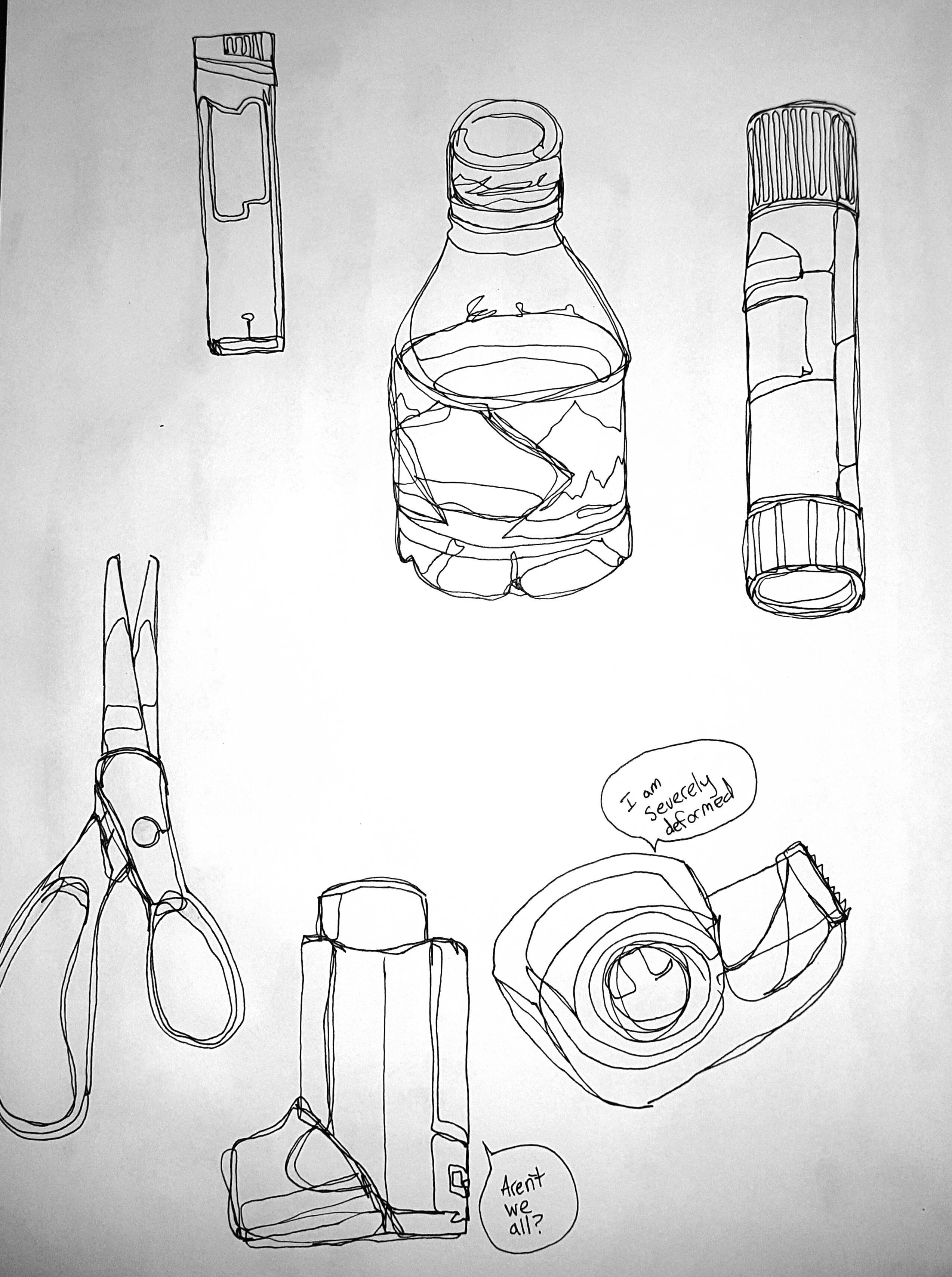 vector freeuse stock Continuous line drawings of objects on my desk