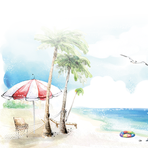clip black and white stock Beach seaside resort background. Drawing nature watercolor