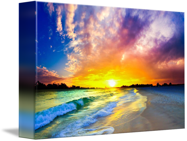 image freeuse beautiful waves purple ocean sunset by Eszra Tanner