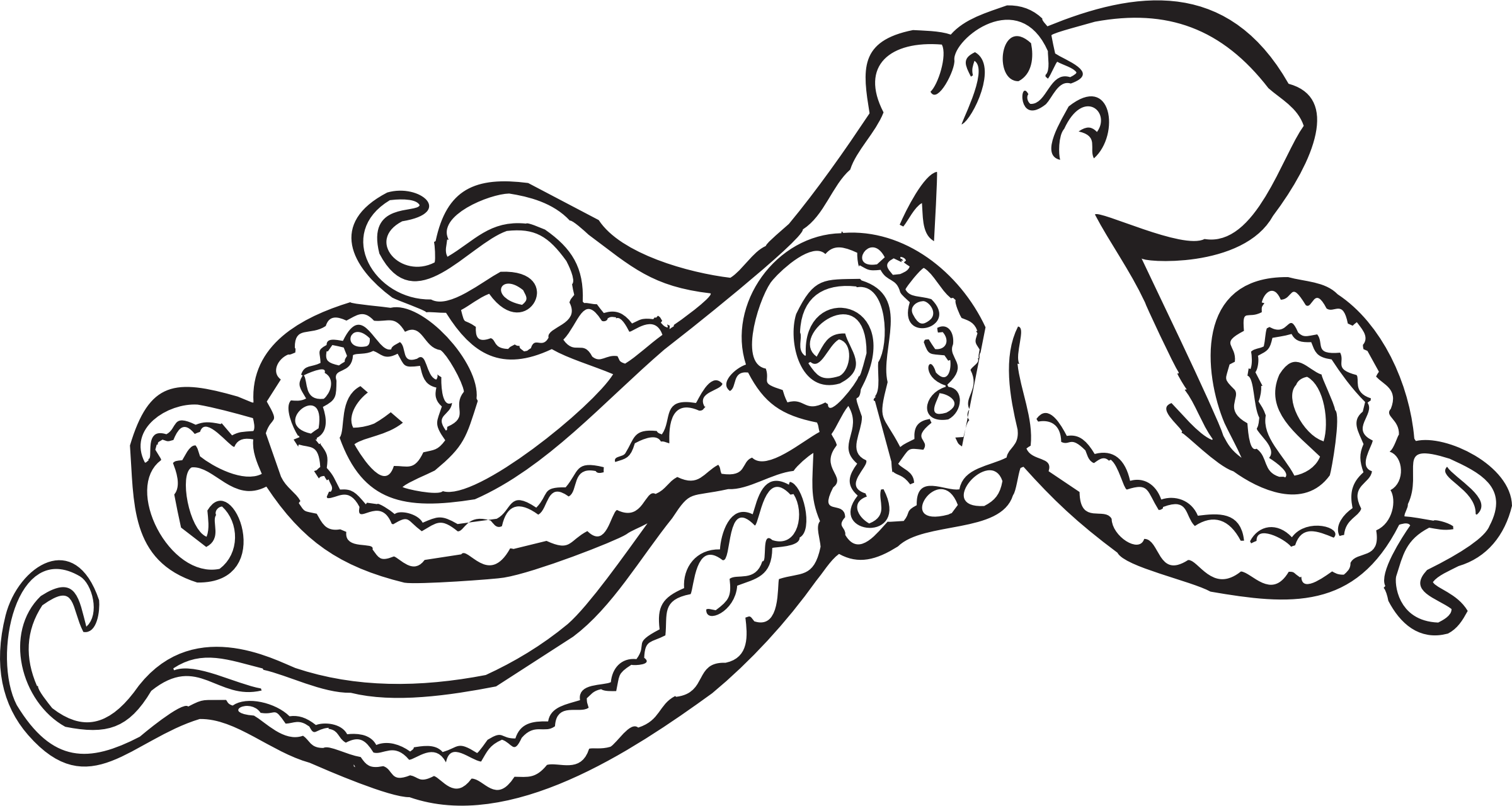 royalty free Octopus Line Drawing Coloring Page