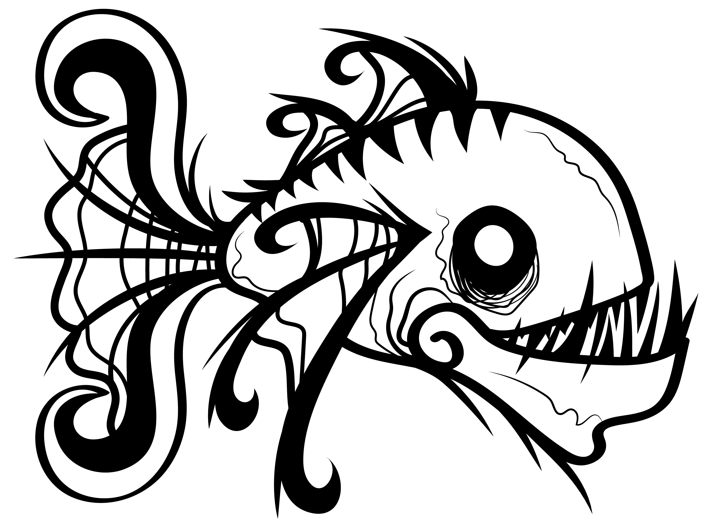 clip art black and white Piranha drawing black. Piranhagblank memphis comic and