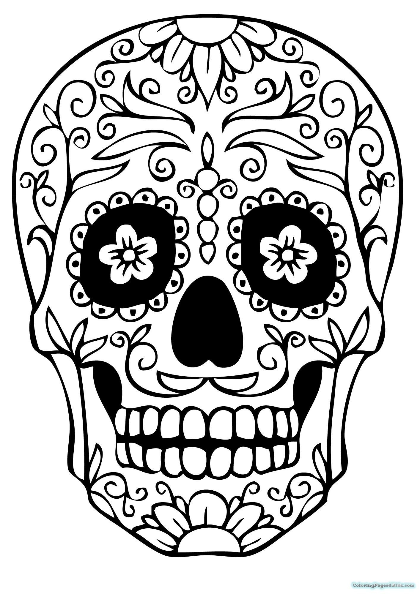 jpg download Drawing s sugar skull. Template free documents