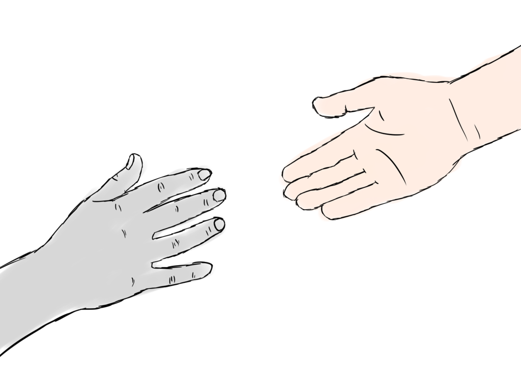 banner library stock Two hands by girlonfire. Drawing out hand reaching