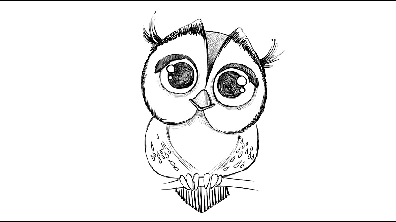 clip art black and white stock How to draw an. Drawing owls.