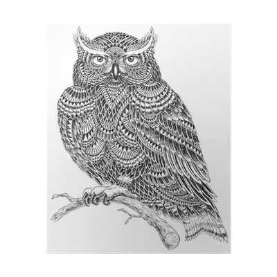 banner free download Drawing owl abstract. Hand drawn pattern illustration