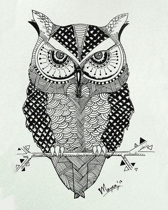 image transparent library Drawing owl abstract.