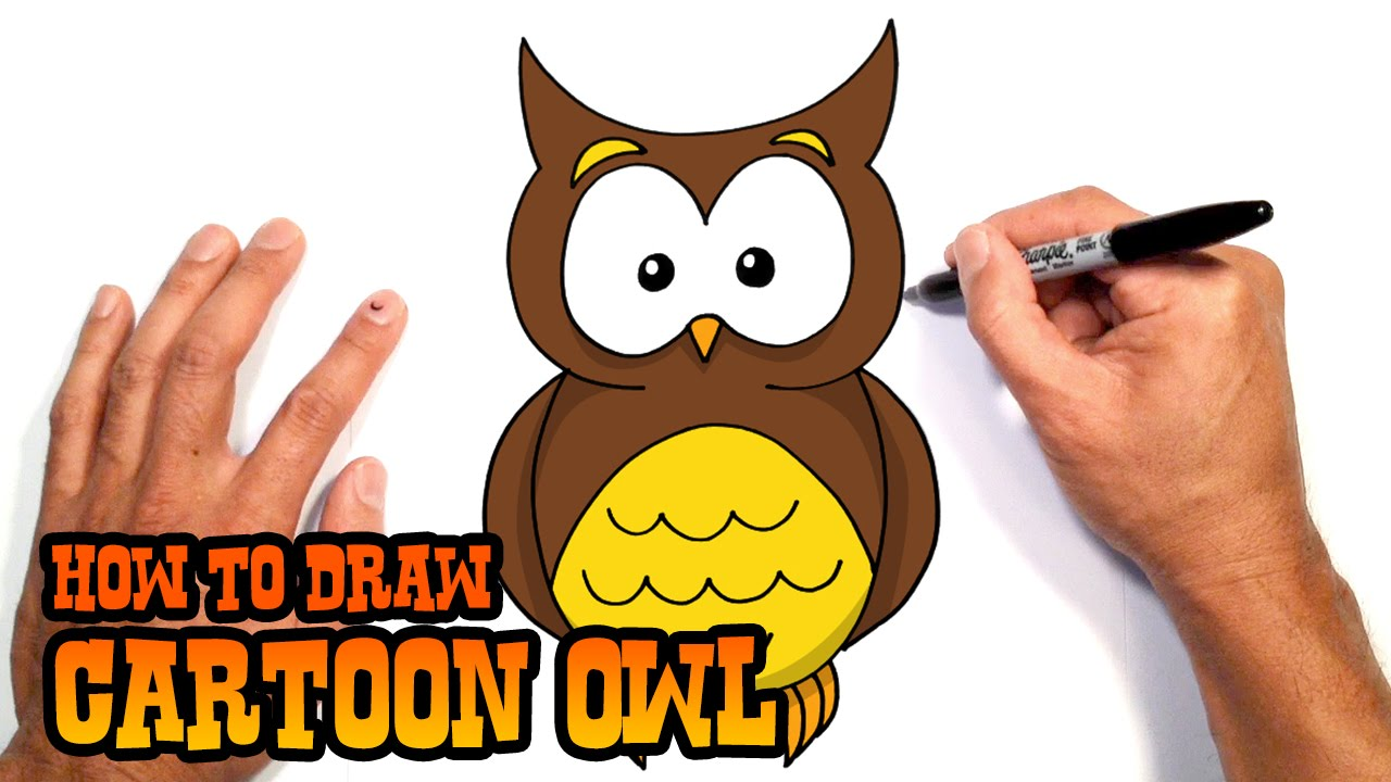 jpg black and white library Drawing owl cartoon. How to draw a