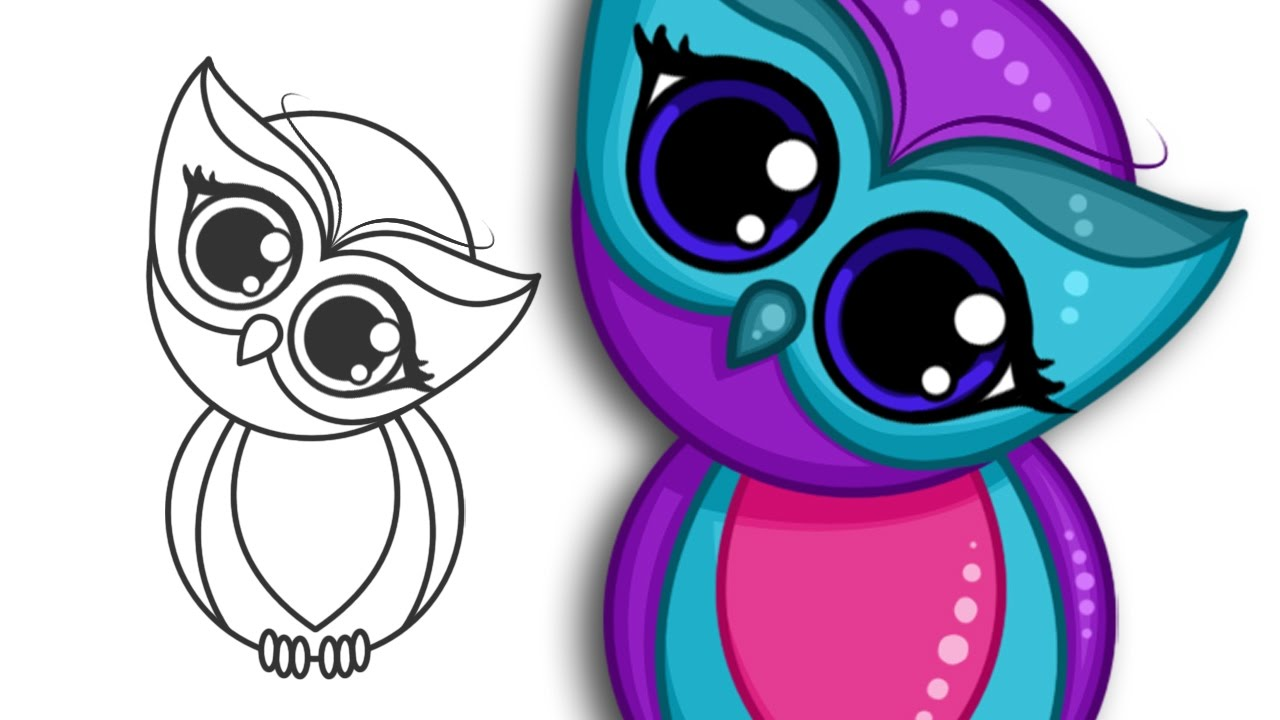 svg royalty free How to draw a. Drawing owls cute cartoon