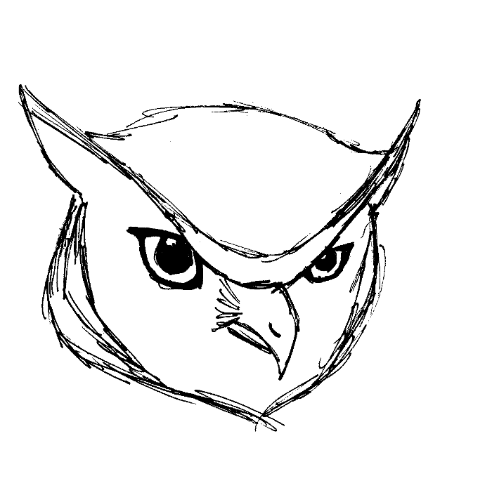 jpg freeuse download Drawing owl great horned. Head by master liafi