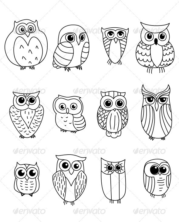 graphic library stock Drawing owls cute cartoon. And owlets graphicriver