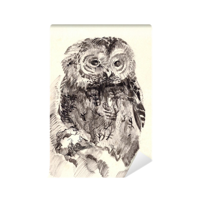image black and white library Brush wall mural pixers. Drawing owl sketch