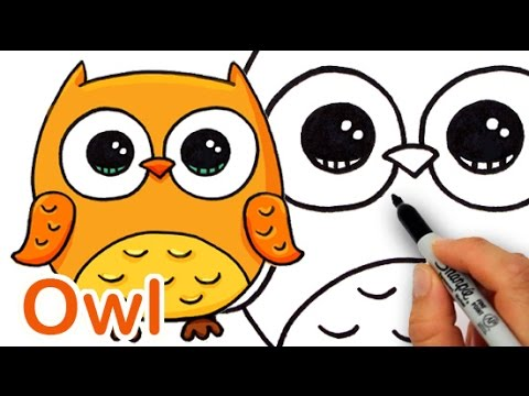 image freeuse Drawing owls cute cartoon. How to draw a