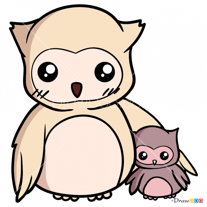 picture library stock Drawing owls kawaii. How to draw family