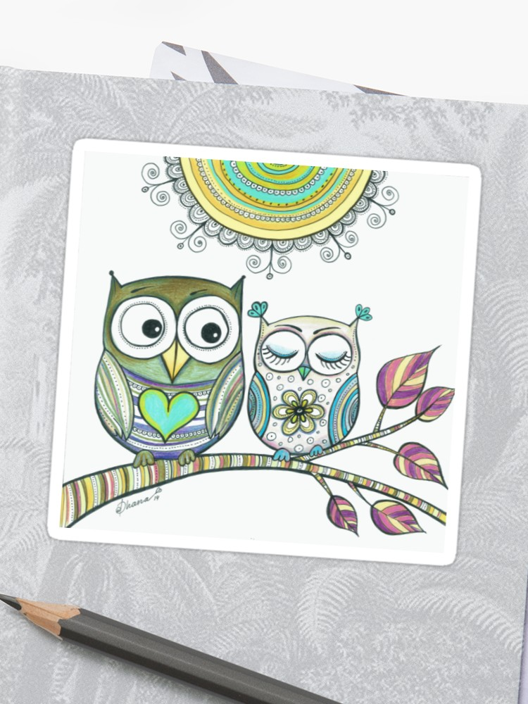 image black and white download Drawing owls love. Couple illustration animal birds