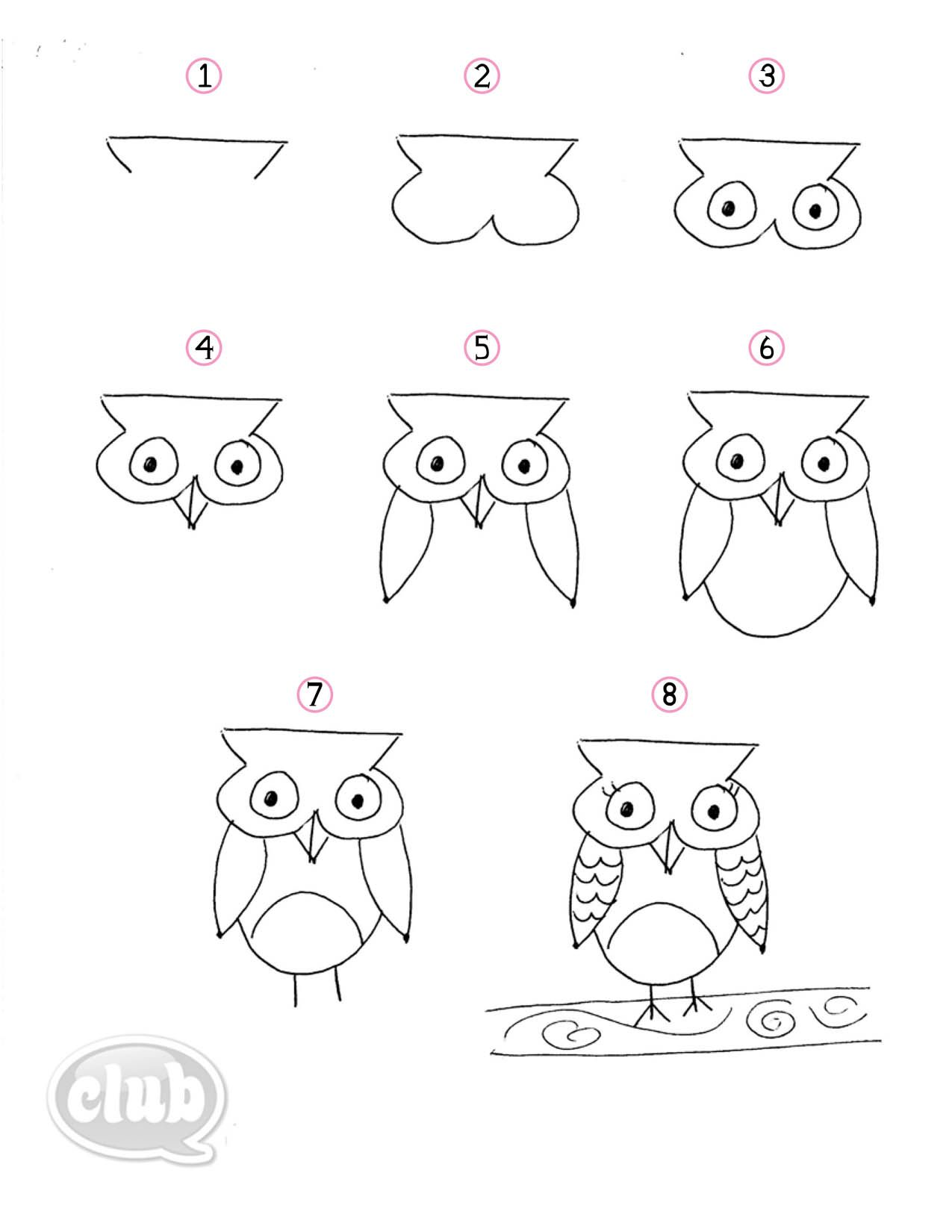 black and white download Owl obsession series how. Drawing owls step by