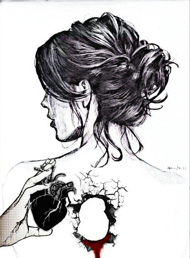 picture royalty free Drawing pain broken girl. Brokenheart blood heart girldrawing
