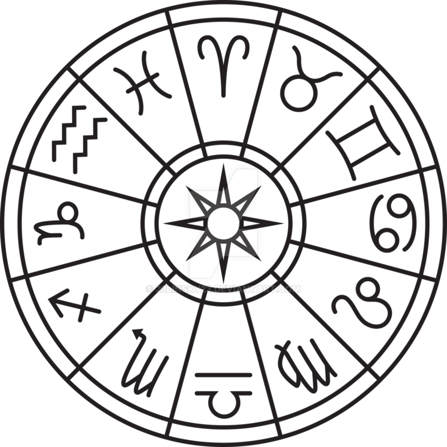 png black and white download Zodiac Circle by