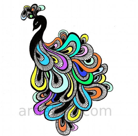 clip art download Drawing peacocks abstract. Peacock art print x