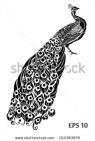 clip download Decorative peacock drawings . Drawing peacocks black and white