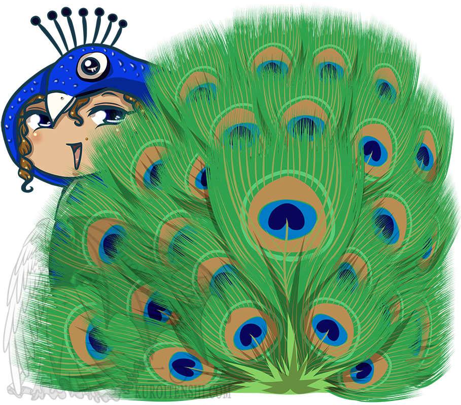 image stock Drawing peacocks chibi. In peacock suit by