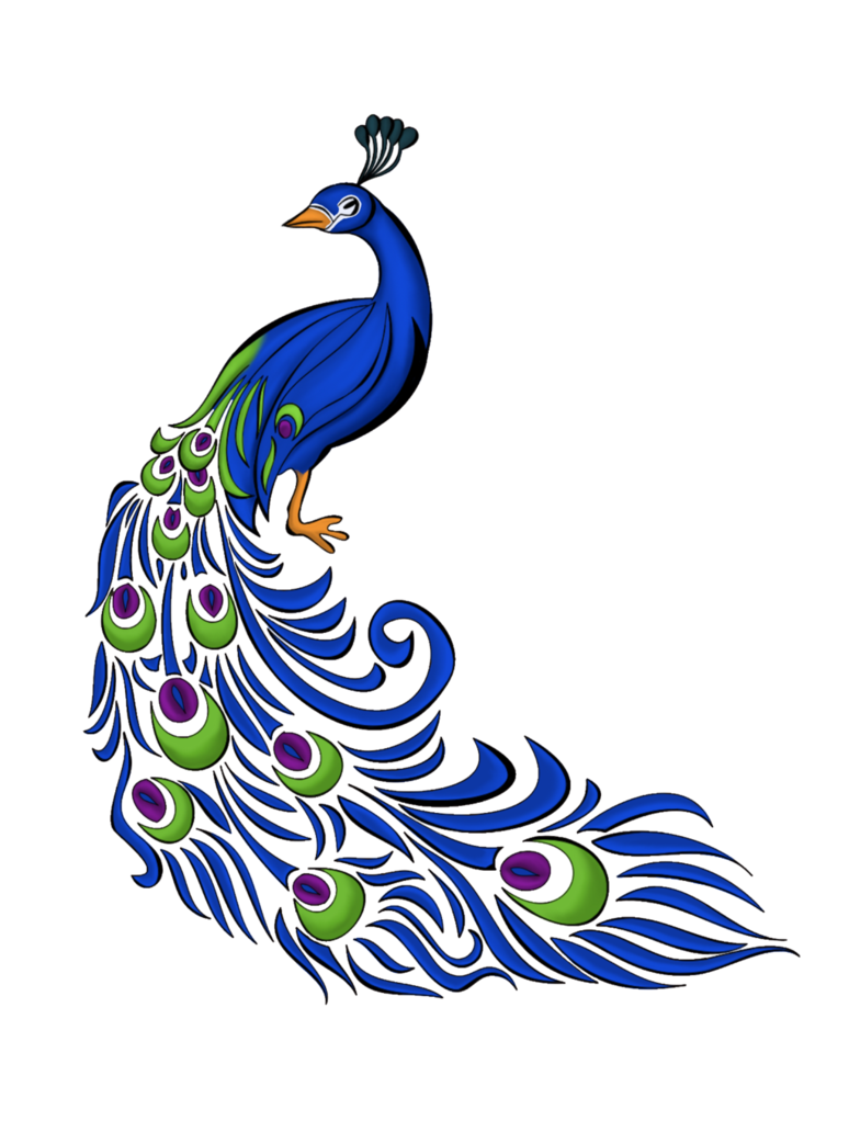 clipart black and white download Peacock motif by irishpiratequeen. Drawing peacocks color