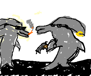 clipart transparent stock Walking dolphings by losrubles. Drawing penguin badass