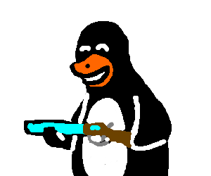 svg royalty free stock Drawing penguin creepy. With a shotgun is