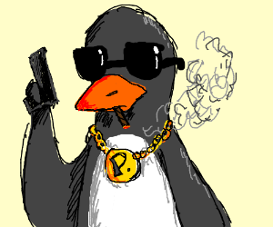 clipart black and white Drawing penguin gangster. Porg godfather drawception