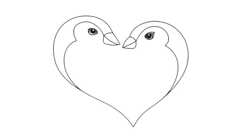 banner stock How to draw a. Drawing penguin heart