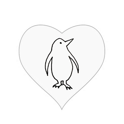 jpg Art original line fresh. Drawing penguin heart