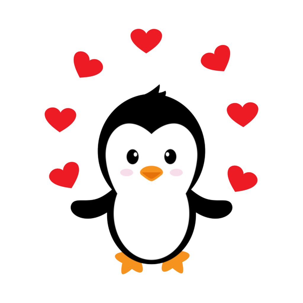 vector royalty free stock Cartoon clip art swing. Drawing penguin heart