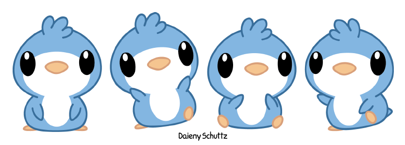 clip royalty free library Blue by daieny deviantart. Drawing penguin kawaii