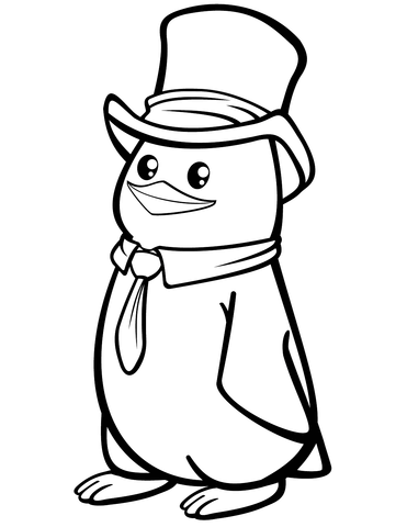 banner free library Drawing penguin top hat. Polar with a coloring