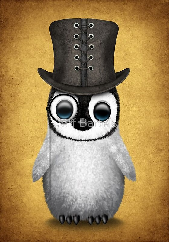 clip library library Cute baby with monocle. Drawing penguin top hat