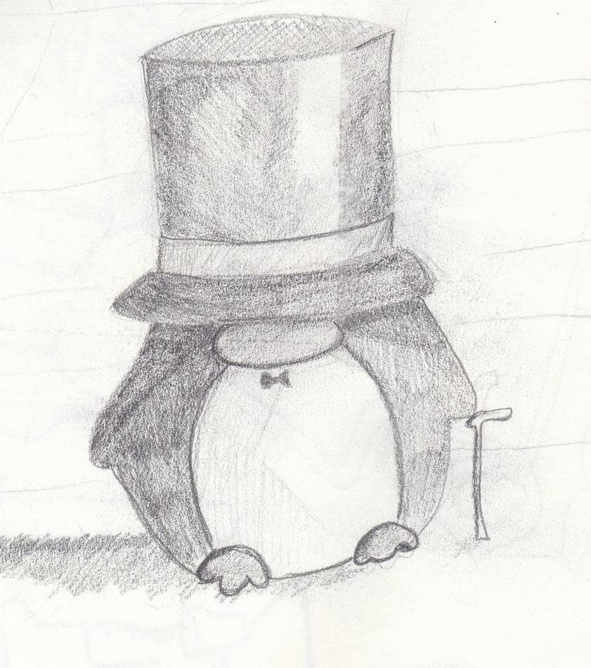 graphic royalty free download Drawing penguin top hat. By leighbailey on deviantart
