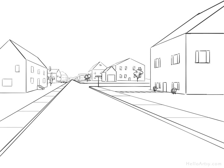 jpg royalty free One point perspective step. Drawing perspectives easy