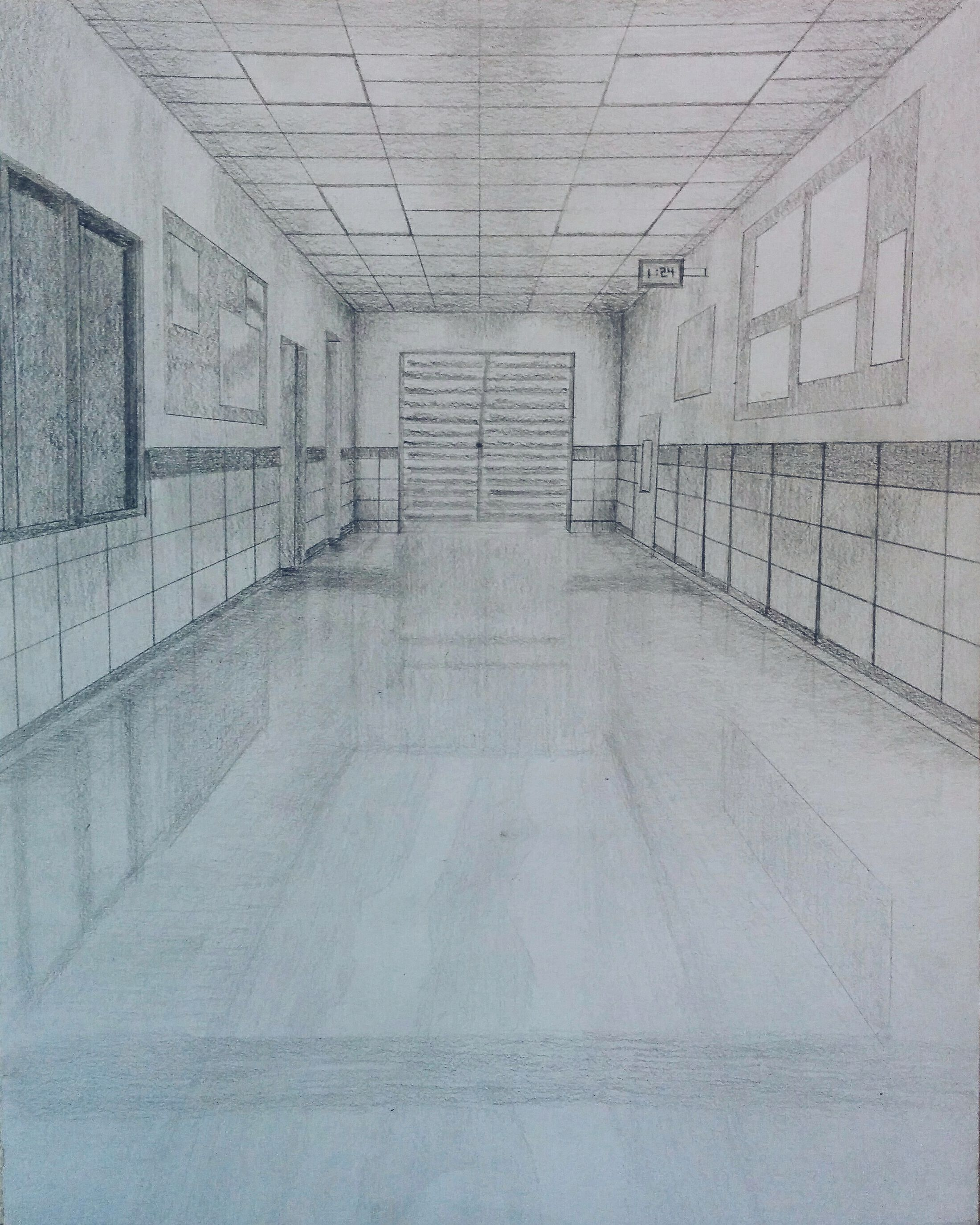 clip art freeuse stock One point perspective in. Drawing perspectives hallway