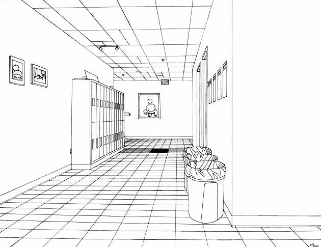 image download Drawing perspectives hallway. One point perspective the