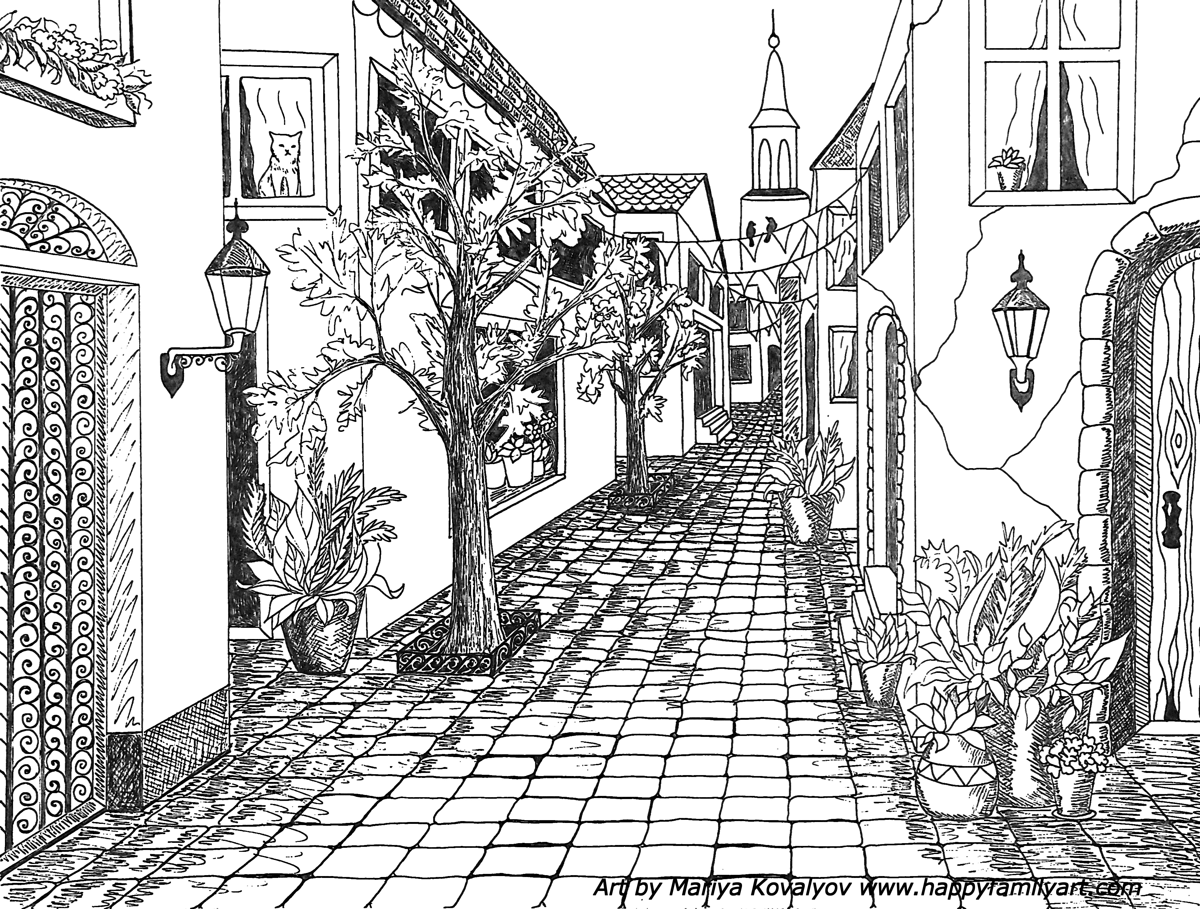 jpg transparent stock Single point perspective of. Drawing perspectives street