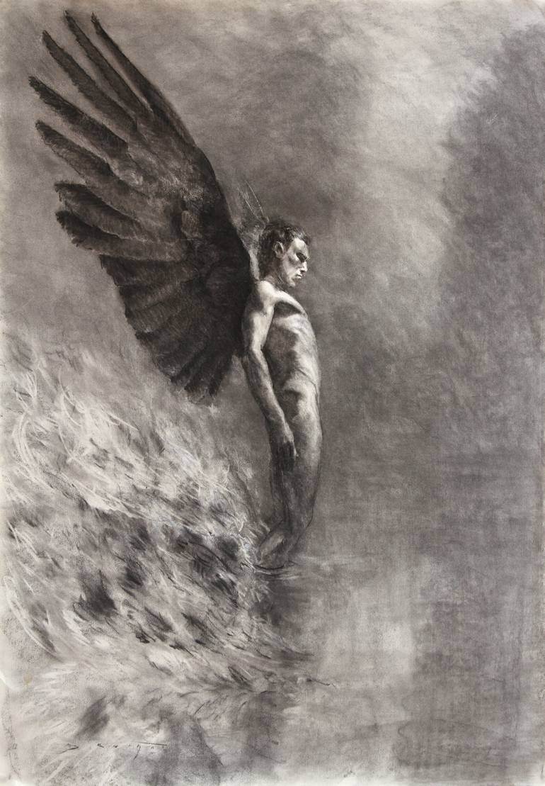 banner black and white library Drawing photography angel. Rising