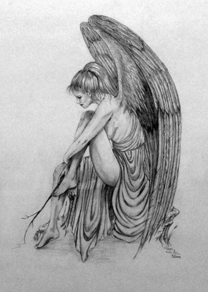 jpg library stock Drawing photography angel. Contemplation by diana winter