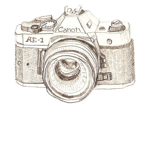 png black and white stock Drawing photography art. Camera canon hand painted