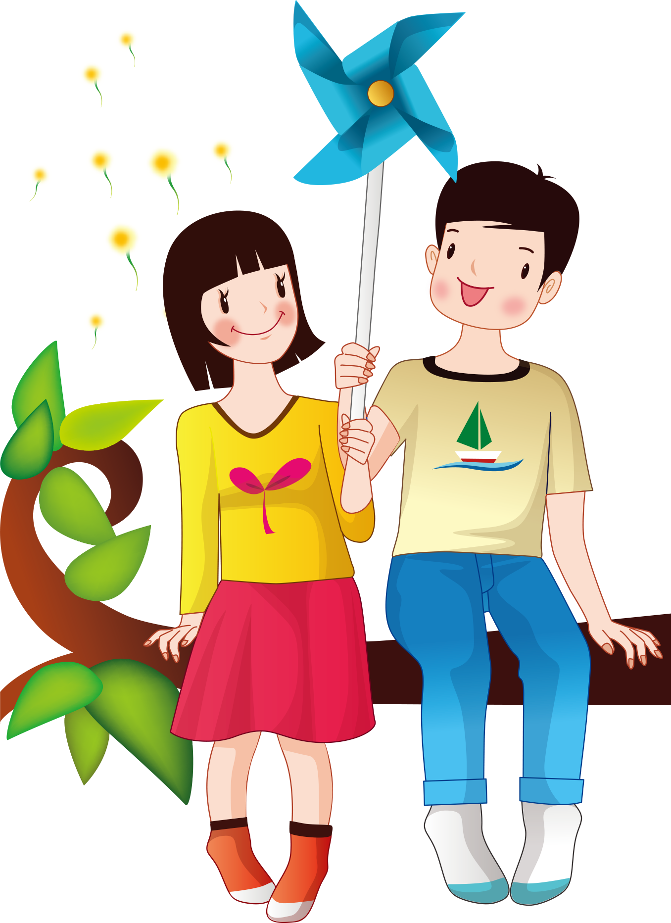 clip art library library Drawing photography couple. Illustration holding windmill transprent