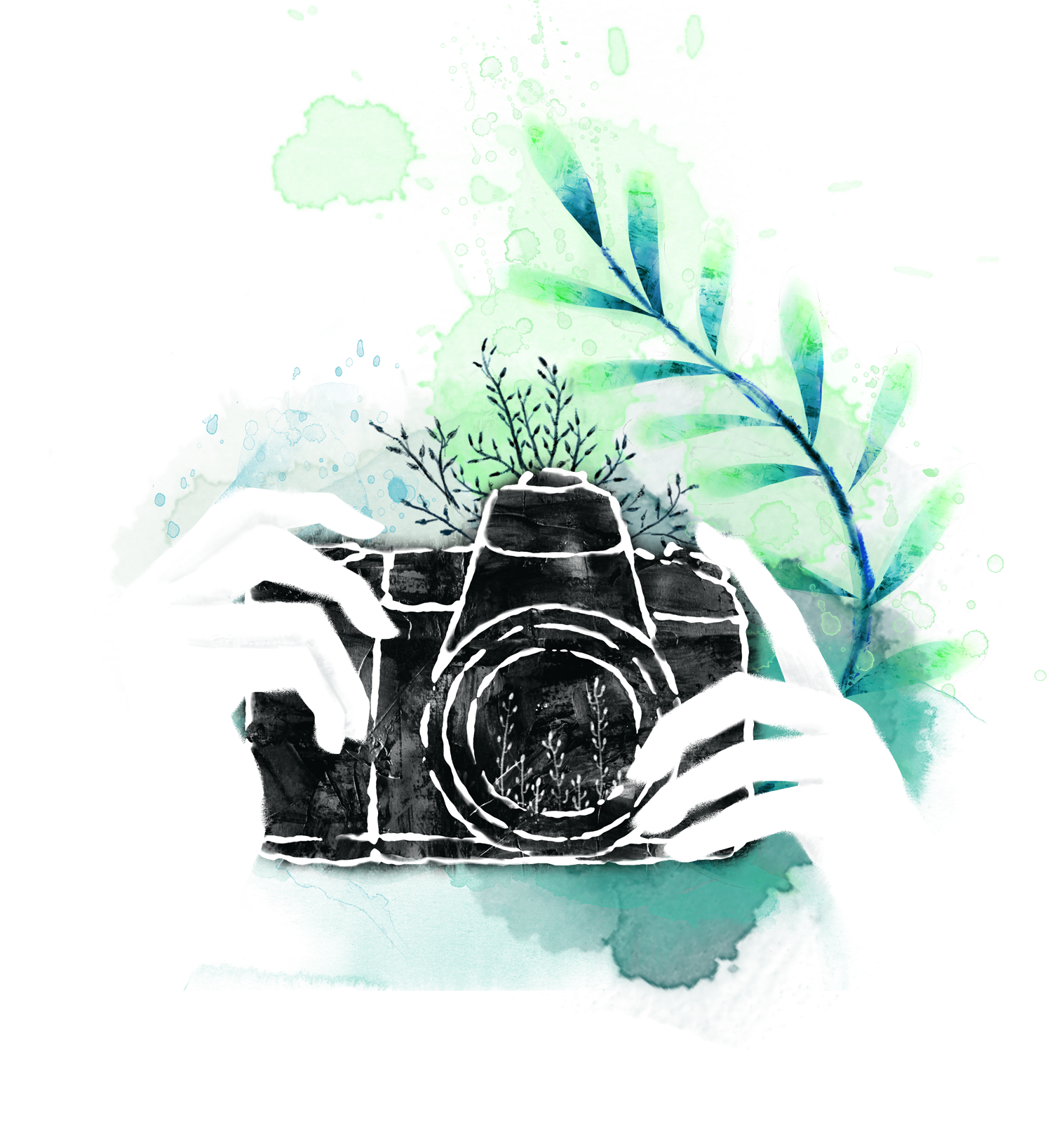 vector transparent library Drawing photography creative. Watercolor painting camera hand