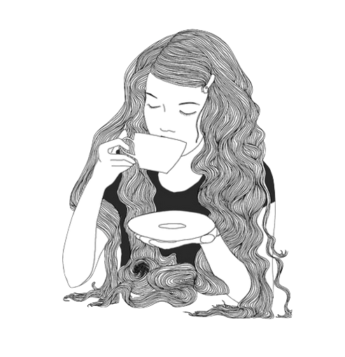 clipart library download Drawing photography long hair. Tea drink girl illustration