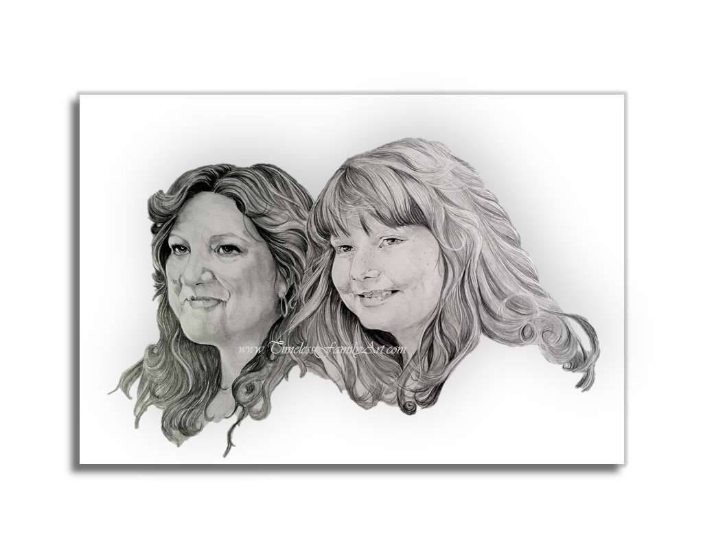 svg library library Pencil of mother daughter. Drawing s portrait