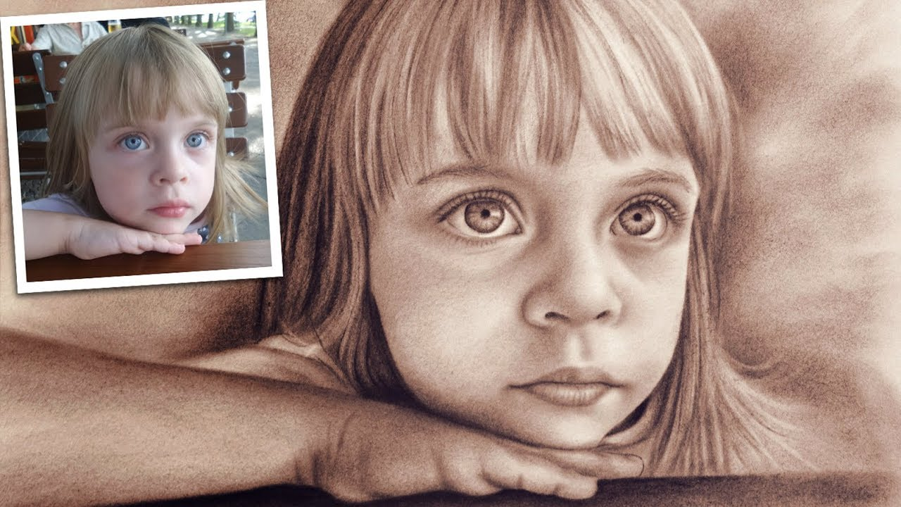 svg black and white library Painting from photo realistic. Drawing portrait photography