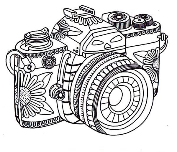vector Drawing photography tribal. Camera in coloring page