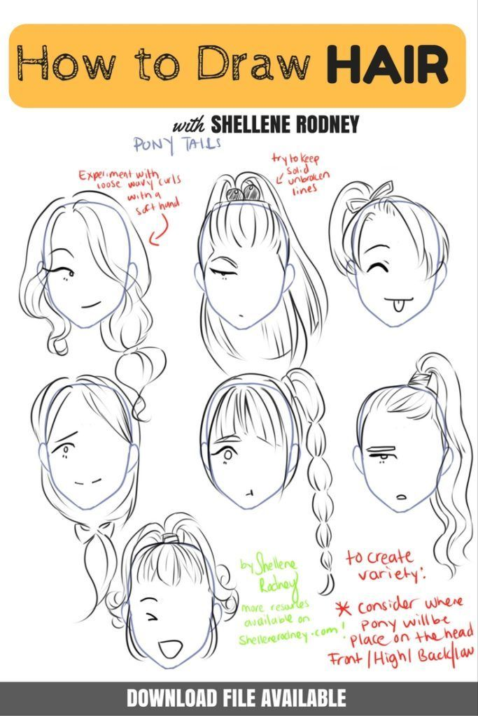 banner Hairstyles for your characters. Drawing ponytails