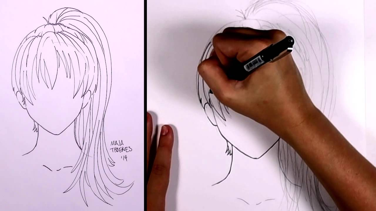 graphic free How to draw manga. Drawing ponytails